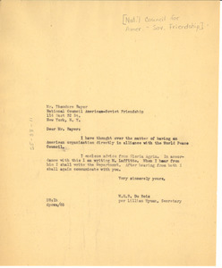 Letter from Lillian Hyman to National Council of American-Soviet Friendship