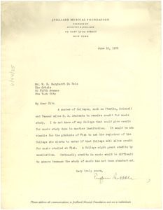 Letter from Juilliard Musical Foundation to W. E. B. Du Bois