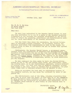 Letter from American-European Travel Bureau to W. E. B. Du Bois