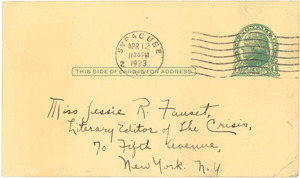 Letter from Ruth G. Smith to Jessie Redmon Fauset