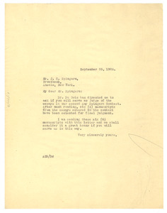 Letter from Crisis to J. E. Spingarn