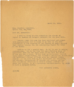 Circular letter from W. E. B. Du Bois to Theodore Roosevelt