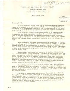 Letter from Washington Conference on Foreign Policy to W. E. B. Du Bois