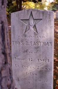 Valley Cemetery (Manchester, N.H.) grave: Thomas Eastman, 1864