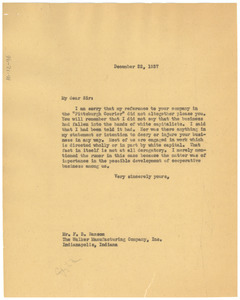 Letter from W. E. B. Du Bois to Madam C. J. Walker Manufacturing Company