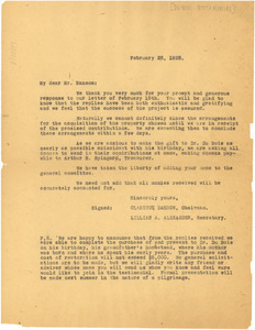 Circular letter from Du Bois Testimonial Committee to F. B. Ransom