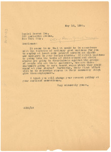 Letter from W. E. B. Du Bois to Daniel Reeves Inc.