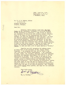 Letter from William A. Griffey to W. E. B. Du Bois