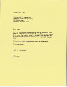 Letter from Mark H. McCormack to Russell W. Meyer, Jr.
