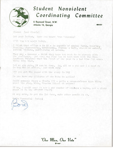Letter from Julian Bond to Cleveland Sellers and Gloria Xifaras Clark