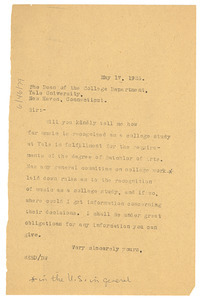 Letter from W. E. B. Du Bois to Dean of the College Department, Yale University
