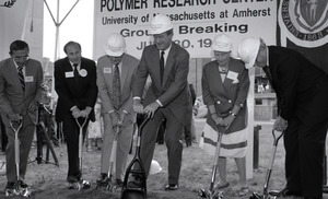 Ceremonial groundbreaking: group including Gov. William Weld (center), flanked by Stanley Rosenberg and Gordon Oakes (left) and Corinne Conte (right)
