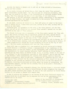 Circular letter from People's World Constituent Assembly to W. E. B. Du Bois