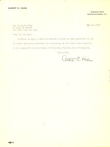 Letter from Albert E. Kahn to W. E. B. Du Bois