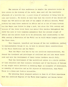 Letter from Pan African Congress to unidentified correspondent [fragment]