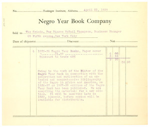 Invoice from Negro Year Book Company to Crisis