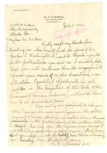 Letter from N. F. Mossell to W. E. B. Du Bois