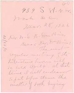 Letter from Carrie Clifford to W. E. B. Du Bois