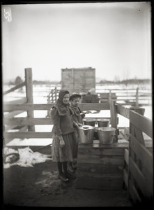 Billings sisters with milk pails (Greenwich, Mass.)
