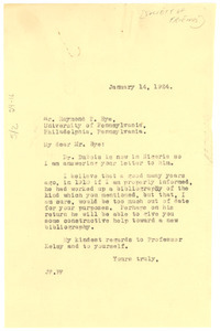 Letter from Jessie Redmon Fauset to Raymond T. Bye