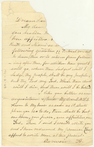 Letter from Alexander Du Bois to unidentified correspondent [fragment]