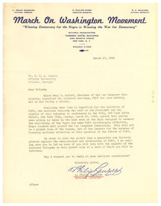 Circular letter from March on Washington Movement to W. E. B. Du Bois