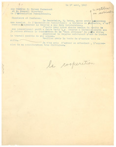 Circular letter from W. E. B. Du Bois to Pan African Association Permanent Committee