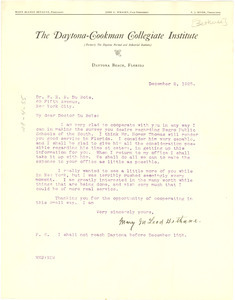 Letter from Mary M. Bethune to W. E. B. Du Bois