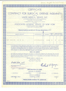 Certificate of contract for surgical expense indemnity