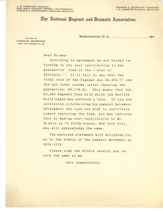 Circular letter from the National Pageant and Dramatic Association to unidentified correspondent