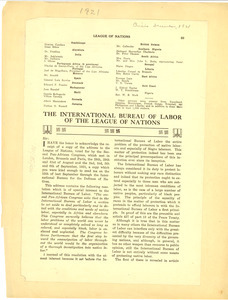 The International Bureau of Labor of the League of Nations