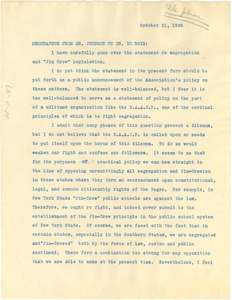 Memorandum from James Weldon Johnson to W. E. B. Du Bois