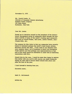Letter from Mark H. McCormack to Donald Lewis