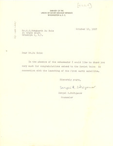 Letter from U.S.S.R. Embassy to W. E. B. Du Bois