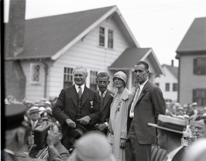 Amelia Earhart reception: Mayor Edward H. Larkin (of Medford), Wilmer Stultz (pilot), Amelia Earhart, and Louis Gordon (co-pilot and mechanic)