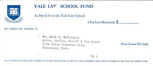 Yale Law School fund reply card and envelope