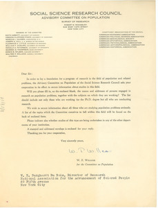 Circular letter from the Social Science Research Council to W. E. B. Du Bois