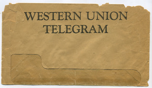 Telegram from W. E. B. Du Bois to Dr. Thomas Bell