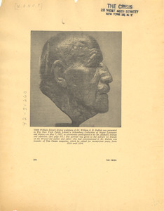 Clipping of sculpture of W. E. B. Du Bois