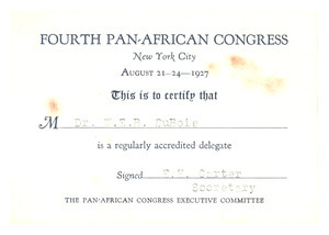 Fourth Pan-African Congress certificate