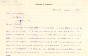 Letter from W. E. B. Du Bois to Miss M. B. Marston