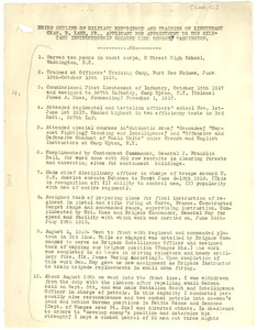 Brief outline of military experience and training of Lieutenant Chas. E. Lane Jr., applicant to the Military Instructorship Colored High School, Washington