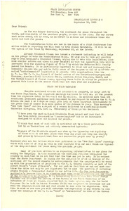 Circular letter from Peace Information Center to unidentified correspondent
