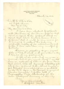 Letter from Wilfred Rankin to W. E. B. Du Bois