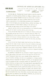 Council on African Affairs press release