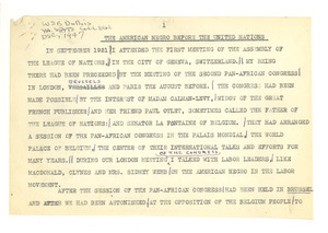 The American Negro before the United Nations [fragment]