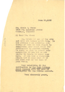 Letter from Crisis to Edwin D. Sheen