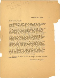 Circular letter from French Bureau for European Travel and W. E. B. Du Bois
