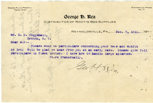 Letter from George H. Rea to D. H. Coggeshall