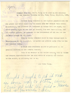 Letter from Ada Young to W. E. B. Du Bois